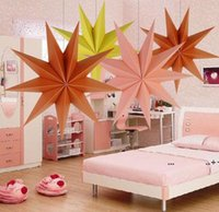 30cm ,45 cm 60 cm Nine Angles Paper Star Home Decoration Tissue Paper Star Lantern Hanging Stars Christmas Party Decoration EWB10328