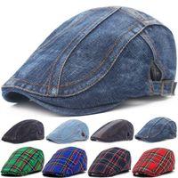 Berets Adjustable Denim Beret Hats Men Women Unisex Jeans Sboy Hat Spring Autumn Peaked Cap Casual Forward Caps 2021