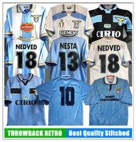 Jerseys de football rétro Lazio Nedved Simeone Salas Shirt de football Gascoiigne Veron Crespo Nestta 89 90 91 92 93 98 99 00 100ème
