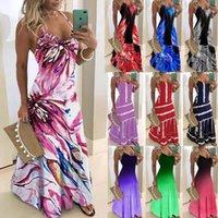 Sommerkleid Europa und Amerika Mode Kleider Frauen Taille Hosenträger Sleeveless Tie-Dye Gedruckt Maxi Rock Plus S / M / L / XL / 2XL / 3XL / 4XL / 5XL