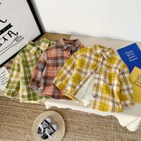 Shirts 2021 Children Winter Plaid Print Wear Plus Velvet Long-Sleeved Sweet Single Breast Buckle Lapel Blouse Tops
