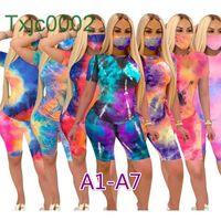 Donne Tracksuits Two Piece Set Designer Tie Dye T Shirt Summer Stampato Manica corta Abiti Abiti Moda Casual Jogging Suits 7 Styles