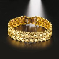 Link, Chain Thick Wrist Bracelet For Women Men Yellow Gold Filled Fashion Jewelry 7.87 Inches