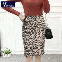 Женщины Leopard Print Skyt 2021 Весна Осень Повседневная Высокая талия Женский Плюс Размер Замша Слим Сплит Бентун Юбки
