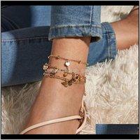 Jewelry Heart Butterfly Key Pendant Sandal Anklets Foot Chain Summer Yoga Ankel Beach Leg Bracelet Ankle For Women Gift Chaine Cheville Drop