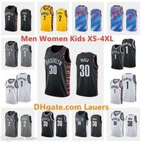 مخصص الرجال النساء كيد جيرسي 2 توري الأمير جديدبروكلينNets 1 جمال كروفورد 30 دزانان مدينة موسى بلو أسود كرة السلة الفانيلة