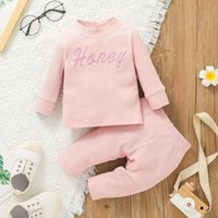 Baby Clothing Set Embroidery Letter Rib Tops+Trouser Outfits Fall 2021 Kids Boutique Clothes 0-2T Newborn Infant Toddlers Girls Cotton Long Sleeves Suit Casual