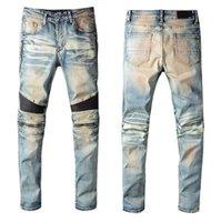 Herren Herrendesignermarke BAL Jeans Klassische Hüfthosen Jean Distressed Ripping Biker Slim Fit Denim Firmati da