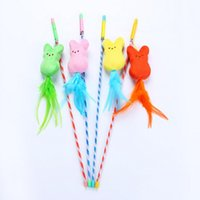 Cat Rod Pet Toys For 4 Style Plush Feather Teaser Colorful Soft Kitten Funny Bird Butterfly And Dog