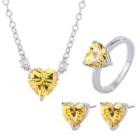 2021 Trend Vintage Heart Citrine Gemstone Necklace Earrings Ring Party Engagement Set Elegant Wedding Fine Jewelry for Women