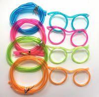 200 قطع الجدة مذهلة سخيفة نظارات متعددة الألوان سترو مضحك إطارات الشرب النظارات القش diy الأطفال أطفال drinkware الإمدادات للحزب صالح SN2502