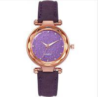 Casual Star Watch geschliffenes Lederband Silber Diamant Zifferblatt Quarz Womensuhren Damen Armbanduhren Manufaktur Großhandel Eine Vielzahl von Farben Wahl