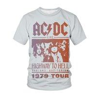 Homens Camisetas 3D pulôver ACDC Rock Band Manga Curta Pop Loose Neck Casual