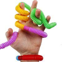 Pop Tube Tangle Fidget Sensory Squeeze Juguete Color Telescópico Alcantarilla Tubería Estracción Alivio Juguetes Gracioso Plástico Plegado Magical Cosas Magicales Para Niños Adultos