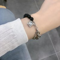 Link, Chain Cool Black White Splicing Bracelets For Women Asymmetric European Charm