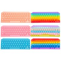 Sensory Bubbles Early Education Pop Keyboard Cellphone Straps Silicon Simple Dimple Finger Push Decompression Toys Alphabet Letters Numbers Learning Game Toy
