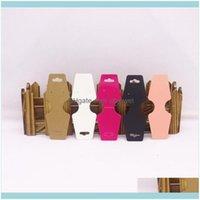 Tags de prix, emballage de cartes bijoux200pcs bijoux 5 couleurs / noires / blanches / kraft / rose cartes pliées en carton de haute qualité 12 * 4.5cm