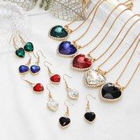 Earrings & Necklace Women Bridal Wedding Jewelry Set Charm Crystal Water Drop Pendant Necklaces Sets Shininy Cubic Zircon Bijoux Femme