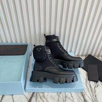 2021女性Rois Martin Boots軍事に触発されたコンバットブーツナイロンポーチストラップ足首のブーツトップクオリティブラックマットパテントレザーシューズ