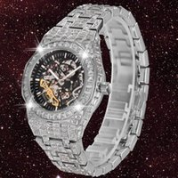 Esqueleto Mecánico Reloj Hombres Tourbillon Relojes automáticos para hombre Hip Hop Iced Out Diamond Shistwatcch Around CZ Reloj Hombre Wristwatches