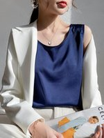 Women's Tanks & Camis Chic Solid Color Satin O Neck Sleeveless Camisole Top For Women Elegant Office Wear Basic Tank Ladies Blouse