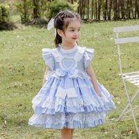 Vestidos de niña CEKCYA 2021 Girls Spanish Turquía Vestido Niños Lolita Princesa Encaje Bola Bolsa Infant Cumpleaños Trajes Bebé Bautismo GZB004