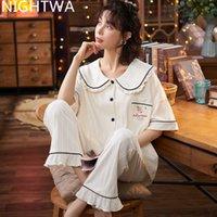 Nightwa Bayan Pamuk Pijama Set Turn-down Yaka Kısa Kollu Pijama Kadın Yaz Karikatür Ayılar Ev Tekerlekli Sevimli Pijama