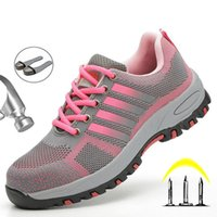 LightWeight Breathable Women Safety Work Shoes Steel Toe Outdoor Boot Mesh Anti-smashing Construstion Sneaker Female Boots