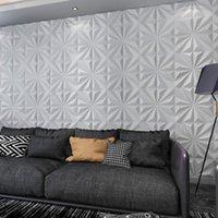 Art3D 50x50cm 3d plástico painéis de parede adesivos à prova de som estrela texturizado branco para sala de estar quarto de fundo de tv (pacote de 12 telhas 32 sq ft)
