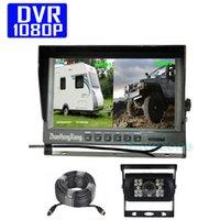 """DVR에 자동 자동차 백업 카메라 키트, AHD 1080P 4 핀 자동차는 SD 레코더 15m와 리어 뷰 카메라 + 9 """"IPS 분할 디지털 모니터를 반전"""