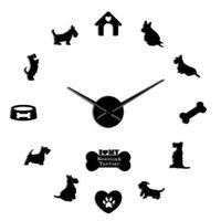 Cute Puppy 3D Wall Clock, DIY Creative Living Room Clock Background Decoration Sticker Mute Clocks