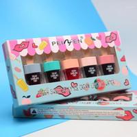 5 шт. / Коробка Симпатичные мороженое для губ для губ макияж жидкая помада увлажняющий глянец водонепроницаемый длительный липкийский корейский стиль косметика1
