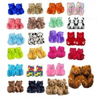 Party Favor 18 Styles Plush Teddy Bear House Brown Home Indoor Soft Anti-slip Faux Fur Cute Fluffy Pink Slippers Women Winter Warm Shoe{category}
