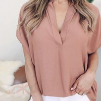 40 Chiffon Summer Solid Color Womens Shirts Short Sleeve Casual Tops Plus Size Loose Top Boho