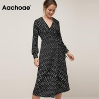Aachoae Women Vintage Polka Dot Casual Long Dress 2021 V Neck Long Sleeve Wrap Party Dresses Female Boho Split Sashes Vestido1