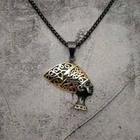 Collar Accesorios Hip Hop Hop Titanium Acero Chapado en oro antiguo Egipto Heifa Laowang Colgante