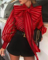 Meihuida High Street Women Organza Blouse Big Bow Striped Loose Shirts Puff Sleeve Retro Chic Blouses Clothes Elegant Shirt Women's &