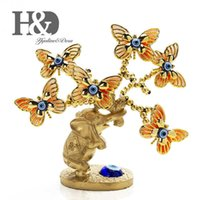 H&d Resin Elephant Butterfly Tree Figurine Lucky Blue Evil Eye Tree for Money Protection Wealth Good Luck Xmas Gift Home Decor Q0525