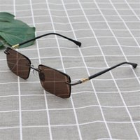 Luxury designer glasses Vazrobe Rimless Glass Sunglasses Men Brown Crystal Sun Glasses for Man Eye Dry Protect UV400 Anti Scratch Heavy Stone Male 7NSP XP8G