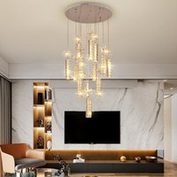 Large Luxury K9 Crystal LED Chandelier Lighting Fixture Rings Dimond Pendant Hanging Indoor Lamp Stair Hall E14 Chrome Cristal Chandeliers