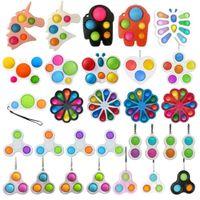 Unicorn Butterfly Flower Shape Push It Fidget Bubble Toys Sensory Simple Dimple Key Ring Finger Toy Keychain Squeeze Bubbles Ball