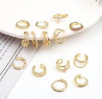 Moda Sense Gold Back Huesse Clip sin orificio Simple C-Type Pendientes de personalidad versátiles