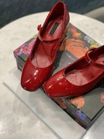 Luxury ladies summer formal wear patent leather sandals sexy red black designer letter heel spring and autumn single shoes party shoes large size 41 42