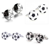 10pairs lot Classic Black White Soccer Cufflinks Copper Enamel Football Cuff Links Mens Jewelry Accessory Whole