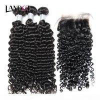 Brasiliano peruviano malese indiano indiano indiano mongolo capelli ricci weave 3 fasci con chiusure in pizzo profondo visone riccio rimozione capelli umani