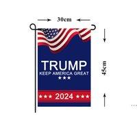 대통령 Donald Trump 2024 플래그 30 * 45cm 마가 공화당 미국 플래그 Anti Biden 결코 Biden Funny Garden Campaign 배너 HWB6257