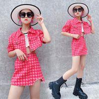 Clothing Sets Girls' Summer Suits 2021 Children's Western Clothes Big Girl's Korean Fashion Red Shirt Skirt 2PCS