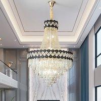WETOGE black crystal chandelier lighting diameter 45cm 60cm 80cm 100cm 115cm  contemporary creative led pendant light for villa hotel duplex church decor