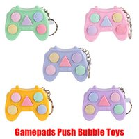 Hot Gamepads POP Fidget Push Bubble Keychain Sensory Toy It Game Joystick Controller Handle Plastic Reliever Stress Hand Pad Key Holder Decompression Gift
