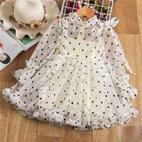 Fairy Spring Girls Vestido de manga llena Polka Dots Princess Elegant Fiesta Drocks Disfraz de cumpleaños para niños 210429